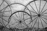 Old Metal Wagon Wheels (BW) Art Print