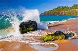 Surf Crashing On Rocks At Secret Beach, Kauai, Hawaii Art Print