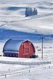 Snow-Covered Barn, Idaho Art Print