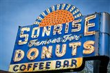 Vintage Neon Sign For Sunrise Donuts Art Print