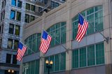 Flags Hanging Outside An Office Building, Chicago, Illinois Art Print