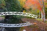 White Footbridge In Autumn, Somesville, Maine Art Print