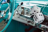 1950's Fuzzy Dice In A Teal Car Art Print