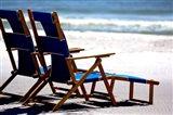 Beach Chairs, Umbrella, Ship Island, Mississippi Art Print