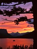 St Mary Lake And Wild Goose Island At Sunset Art Print
