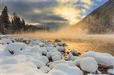 Winter Sunrise Over The Flathead River, Montana Art Print