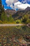 Mcdonald Creek With Garden Wall In Early Autumn In Glacier National Park, Montana Art Print