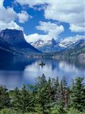 Cumulus Clouds Drift Over Saint Mary Lake And Wild Goose Island Art Print