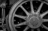 Rusted Train Wheel, Nevada (BW) Art Print