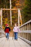 Children on suspension bridge New Hampshire Art Print