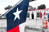 Flag At An Antique Gas Station, Texas Art Print