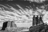 Three Gossips, Arches National Park, Utah (BW) Art Print