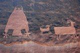Ancient Petroglyph Of Owl And Big Horn Sheep, Utah Art Print