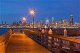 Seacrest Park Fishing Pier, With Skyline View Of West Seattle Art Print
