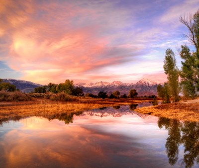 California, Bishop Sierra Nevada Range Reflects In Pond Art Print by Jaynes Gallery / Danita Delimont