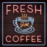Neon Fresh Coffee Art Print