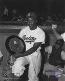 Jackie Robinson - black and white baseball Art Print