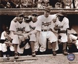 Jackie Robinson - First Day, with Spider Jorgenson, Pee Wee Reese, Ed Stankey Art Print