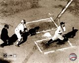 Babe Ruth - Homeplate action, sepia Art Print