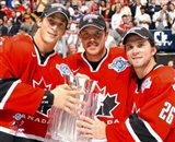 Vincent Lecavier, Brad Richards, Martin St. Louis with 2004 World Cup Trophy Art Print