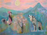 The Wolf and the Rooster Sing by Moonlight Art Print
