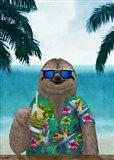 Sloth on Summer Holidays Art Print