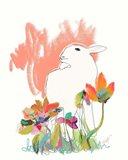 Lamb and Flowers Art Print