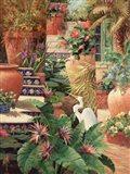 Floral Fractal with Egret Art Print