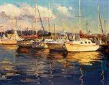 Boats on Glassy Harbor Art Print