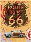Route 66 Vintage Postcard Art Print