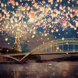 Love Wish Lanterns Over Paris Art Print
