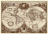 Nova Totius Terrarum Orbis Tabula (sepia) Art Print