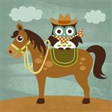 Cowboy Owl on Horse Art Print