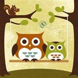 Two Owls on Swing Art Print