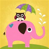 Elephant and Owl with Umbrella Art Print