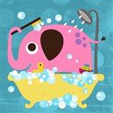 Elephant in Bathtub Art Print