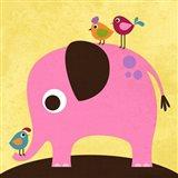 Elephant with Birds Art Print