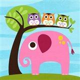 Elephant with Three Owls Art Print
