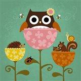 Owl, Squirrel and Hedgehog in Flowers Art Print