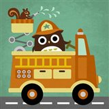 Owl in Firetruck and Squirrel Art Print