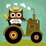Owl on Tractor Art Print