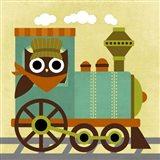 Owl Train Conductor Art Print