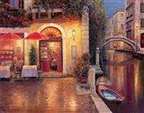 Night Cafe after Rain Art Print