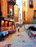 Street Cafe after Rain Art Print