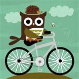 Owl and Hedgehog on Bicycle Art Print