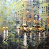 Manhattan Orange & Green Art Print