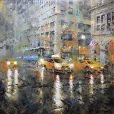 Manhattan Orange Rain Art Print