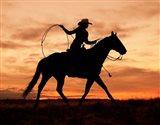 Cowgirl Silhouette Art Print