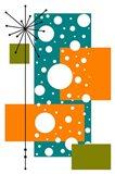 Lacuna - Aqua and Orange Art Print