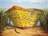 Yellow and Orange Rowboat Art Print